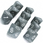 Grey & White 'High Tech' Speckled D10 Ten Sided Dice Set